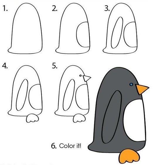 วิธีการวาดรูปสัตว์ นกเพนกวินหันข้างน่ารัก ๆ