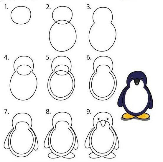 วิธีการวาดรูปเพนกวินหน้าตรงน่ารัก ๆ