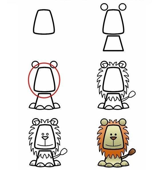 วิธีการวาดรูปสิงโตแบบน่ารัก