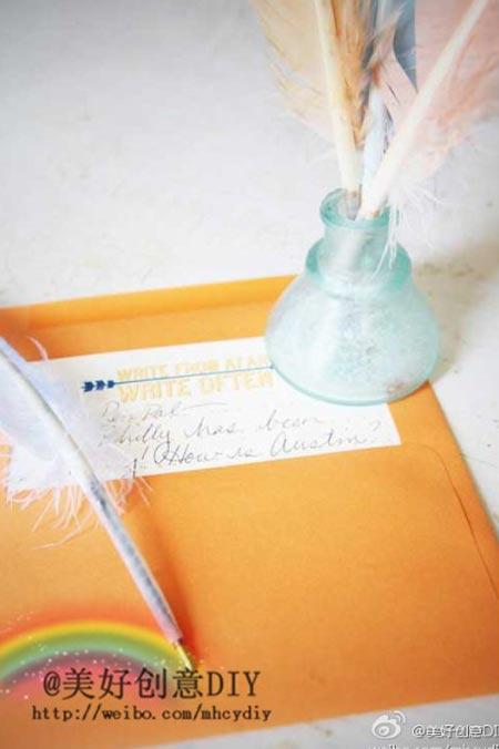 ตัวอย่างการทำปากกาขนนกใช้เองแบบเก๋ ๆ