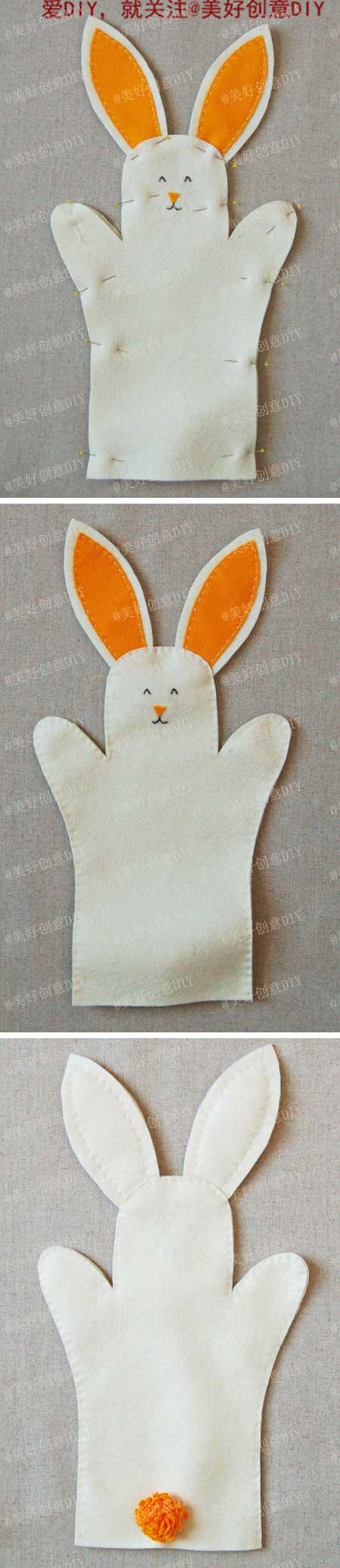 ตัวอย่างการทำตุ๊กตามือด้วยตัวเองรูปกระต่าย