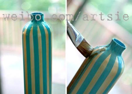 ไอเดียการทำแจกันสวย ๆ จากขวดแก้วเหลือใช้