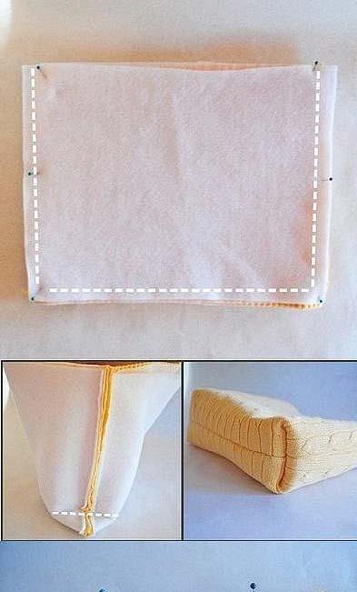 ทำกระเป๋าจากเสื้อหนาวตัวเก่า